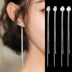 Drop Earrings 2019 New Fashion Silver Plated Dangle Hanging Rhinestone Pearl Long Drop Earrings For Women Tassel Jewelry Brincos Bijoux