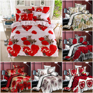 Rose Bedding Duvet Cover Set Printed Rectangle Polyester Duvet Cover Fitted Sheet Pillow Case Luxury Multicoloured Bedding Sets