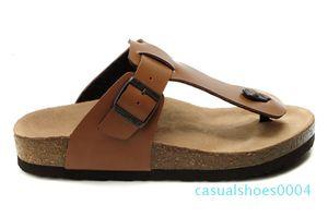 Famous Brand Arizona Mit Orignal Marken-Logo-Männer-Frauen-flache Sandalen Casual Flip Flops Einzel Buckle Strand echtes Leder SlippersQA24