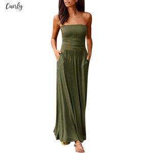 Womens Boho Dress Bandeau Holiday Off Shoulder Strapless Long Dress Feminine Ladies 2020 Casual Summer Solid Maxi Dress Vestidos