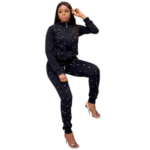 Ladies Tracksuits Fitness Winter Knitted Suits High Collar Velvet Sweater+ Cashmere Trousers Leisure Two Piece Set Top And Pants