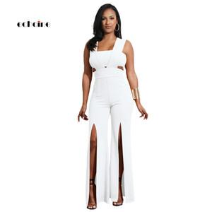 Echoine Women Jumpsuit Sexy senza spalline Zipper senza maniche Backless Pantaloni a gamba larga alta Split Split Pagliaccetti eleganti Capispalla Y19060501