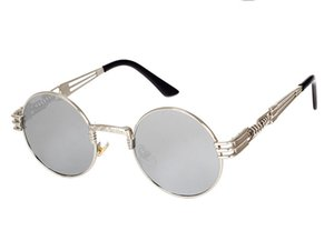 Fashion Uv400 Glasses Round Metal Women Sunglasses Steampunk Men Brand Designer Retro Vintage Sunglasses 10 Colors 1 SW64