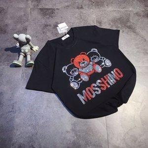 Fashion mos shirts mens womens tshirts sweatshirt outdoor casual Short Sleeve Tee Three bears with colorful rhinestone size M-2XL 705