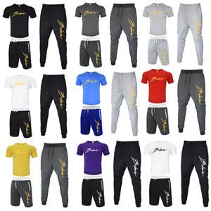 Balmain 3 adet Setleri (t gömlek + Uzun Pantolon + Kısa Pantolon) Eşofman Erkekler Spor Marka-Giyim Casual Eşofman Erkekler İnce Eşofman
