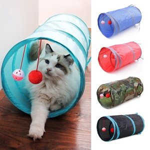 Cat Tunnel Collapsible Crinkle Kitten Toys Puppy Ferrets Rabbit Play Dog Tunnel Tubes With Two Balls