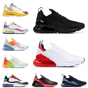 Stock X Triple Black White Red mens women running shoes 270 react Travis Bauhaus Bred trainers sports sneakers size 36-45