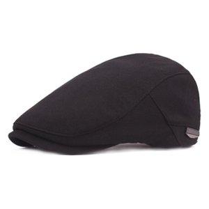 Unisex Vintage Hat Берет плоские шапки для мужчин Baret Hat женщин Сплошной цвет вскользь Классический западный Newsboy Черный французский береты Boina