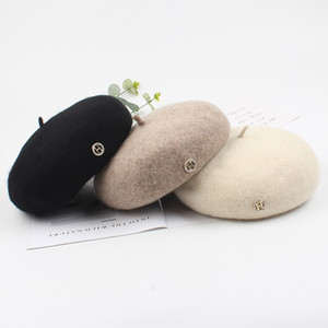Осень и зима письмо H берет шапка шерсть береты Boinas пункт Mujer французских шлет boina берет женских трикотажных шапок Berret