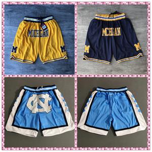 Calças NCAA Tamanho S-XXXL Bordados aptidão Michigan Wolverines Shorts Sweatpants Carolina do Norte Com Zipper bolso Sportwear