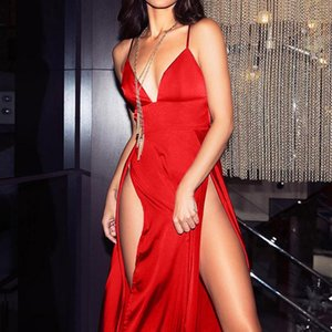 Новое Прибытие Горячие Высокие Сплит Maxi Сексуальные Женщины Сплошные Вечеринки Платья Clubwear Долгое платье без рукавов Женщины