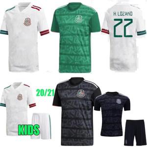 2020 Mexique Accueil Vert à l'extérieur Blanc Noir Hommes adultes enfants Sports Kit H.LOZANO DOS SANTOS Chicharito Mexique chemise de football maillots de football 19 20