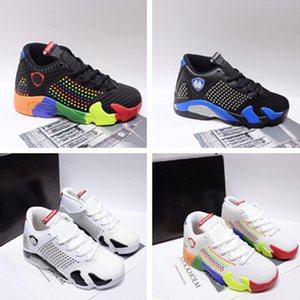 High quality boys shoes classic A and J 14 joint men and women basketball shoes blue white multi-color sports coach air cushion