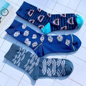 Dropshipping Crew Cool Funny Cotton Wacky Socks Dice Dices Sharks Scales Shake Street Fashion Ins Fish Scale Stripe Shark Wave