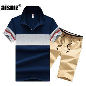 Aismz Eşofman Erkekler Moletom Masculino Sportsuits Seti Marka Yaz En Kısa Seti Erkek Moda 2 adet tişört Shorts Suits