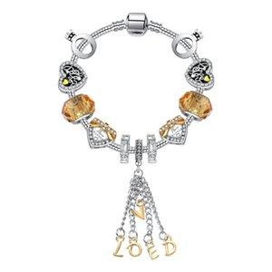 17-21CM New Fashion LOVE Pendant bangle 925 Silver Charm Bead Accessories bracelets Diy Wedding Jewelry Valentine Gift with box