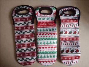 Vinho do Natal Neoprene Bottle Bag Árvore de Natal, Floco de Neve, Socks Pattern Wine Sacks, tampa da garrafa de Champagne