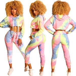Mulheres Fall 2 Piece Set Hoodie Leggings Treino capuz patchwork shirt tie Pant Sportswear tingido Top manga comprida gradiente Outfits LJJA2953
