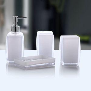 Acrílico 4 unidades set accesorios de baño conjunto botella de jabón boca taza jabón plato taza cepillo de dientes titular caso bola boy householy DTT88 Y200407