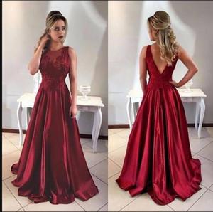 Sexy Wine Red A line Vestidos de dama de honor baratos Cuello transparente Encaje Satén Fruncido Sin respaldo Invitado de boda Prom Vestido formal de fiesta Precio al por mayor