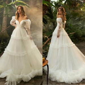 Vintage A Line Wedding Dresses Sexy Off-shoulder Long Sleeves Tiered Chiffon Bridal Dress Backless Sweep Train Elegant Cheap Bridal Dress