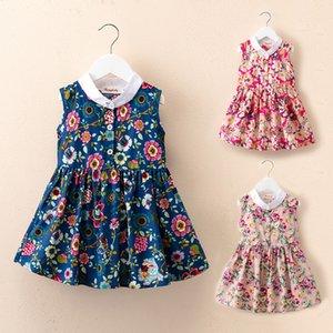 Mädchen-Kleid-Sommer-Kind-Kleid Neue Kinderkleidung Koreanisch-Art Western-Art-Weste-Rock-Blumendruck Sleeveless Prinzessin Rock