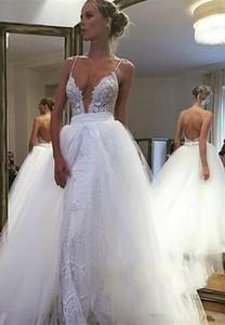 해변 섹시한 인어 웨딩 드레스 분리형 기차 스파게티 스트랩 백리스 바닥 길이 웨딩 드레스 신부 가운 Vestidos de Noiva