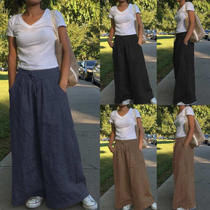 Женская конструктор Vintage Wide Leg штаны высокой талии сплошной цвет эластичный пояс Свободные брюки весна лето мода женщин брюки