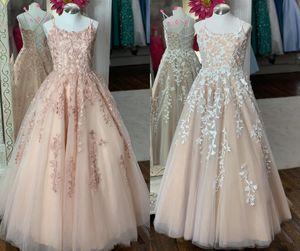 Romantic Blush Champagne2020 ragazze di fiore Abiti da sposa con spalline in pizzo Real Photo Juniors damigella Prom abiti da cerimonia
