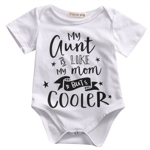 DERMSPE Newborn Baby Boys Girls Letter My Aunt Is Like My Mom But Cooler Printed Romper Short Sleeve Jumpsuit Clothes Outfits