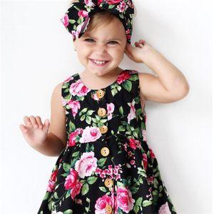 ины кнопка летней девушки цветочные платья галстук Hairband большой цветок внешней торговли юбка платье девушки
