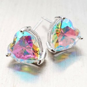 Hot Sales Women's Crystal Zircon Heart Shaped Ear Studs Earrings For Women Silver color Geometry Earring Bijoux
