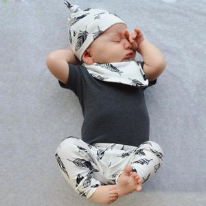 Infant Toddler Clothing Summer Baby Boys Girls Outfits Set Short Sleeve Gray Tops+Leaf Print Pants+Hat+Bibs 4Pcs Newborn Clothes