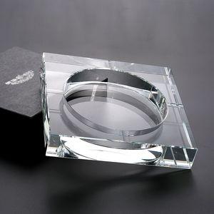 El yapımı Kristal Cam Kül Tablası Black Gold tranparent Kare Shape Küllük Puro Kaynağını Sigara Aksesuar Ev Ofis KTV Sigara