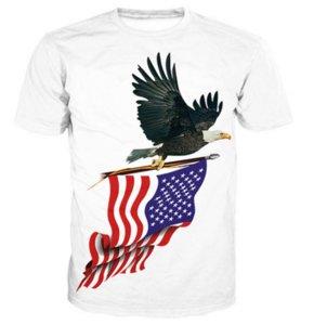 Hombres Mujeres Moda Verano Estilo ConMotion Eagle American Flag 3D Tees Impreso de manga corta cuello redondo Casual T-shirt Tops WR025