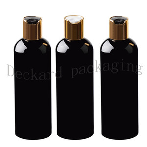 30pcs Negro 300 ml Envase limpiador de la muestra, el champú de almacenamiento con tapa de disco de oro Negro vacío Embalaje de botellas de plástico