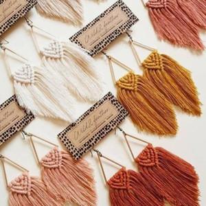 Dvacaman Boho Weave macramé Boucles d'oreilles Triangle ethnique plumes franges Boucles d'oreilles Cadeaux de demoiselle d'honneur Accessoires Bijoux de mariage