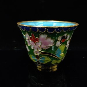 Chinese Antique Filigree enamel Flowers Pattern Cup JTL069
