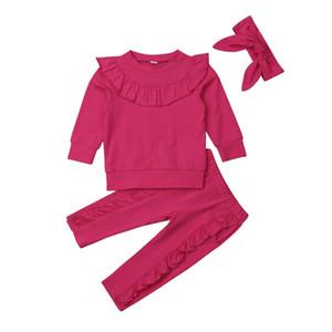 1-6Y 3PCS Bebek Çocuk Bebek Kız Giyim fırfır Pantolon Kış Kıyafetler Tops Sevimli Bebek Giyim