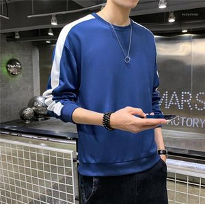 Sleeve Sweatshirts Males Fasghion Casual Clothes Mens Panelled Striped Designer Hoodies Spring Autumn Teenagers Sloid Color Crew Neck Long