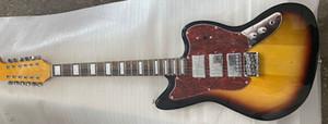Custom Shop Ponte 12 Cordas cereja Sunburst ST Precision Jaguar Jazzmaster guitarra elétrica bloqueio duplo Tremolo, Red Turtle Pickugard