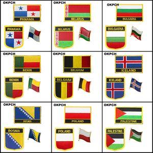 Palestine Bahrain Panama P.N.G. Belarus Bulgaria Benin Belgium iceland Bosnia Poland Embroidery Iron on Patches