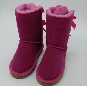 Dorp SHIPPING Детская одежда Обувь из натуральной кожи снега сапоги для малышей Boots луками детей Обувь для девочек снега сапоги