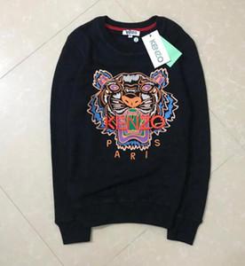 2020 Hot ricamo tigre maglione testa uomo donna di alta qualità dal O-collo pullover ricamo puro del cotone di spugna KZ 16 colori