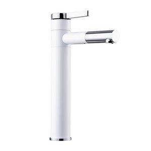 Bagno rubinetto lavabo di rame placcato cottura Bianco vernice viso accentuando Sopra il contro bacino del rubinetto calda e fredda Bagno