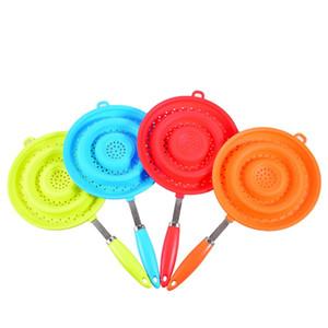 Silikon Seiher Folding Nudeln Seiher Abfluss Korb Obst Gemüsewasch Sieb zusammenklappbarer Silikon-Drainer mit Griff
