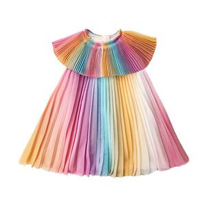 2019 Summer Girl Rainbow Dress Bambini Abiti da festa Fashion Princess Pieghettato Dress Maid Girl Costume Cute Kids Belle Abbigliamento J190615