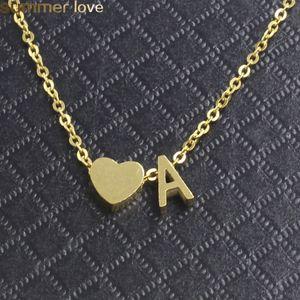 Collar de acero inoxidable 26 Letra Intial Alfabeto Colgante Colgante Para Mujeres Color Oro A-Z Alfabeto Collar Corazón Para Mujeres Chicas Collier