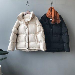 Mooirue Roupa 2019 Outono-Inverno coreano do revestimento do revestimento Femme Ins algodão acolchoado quente Sólidos CJ191128 Brasão Cor manga comprida New Vestuário
