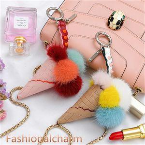 Real Genuine Fur Ice Cream Keychain Pompom Ball Bag Charm Pendant Gift